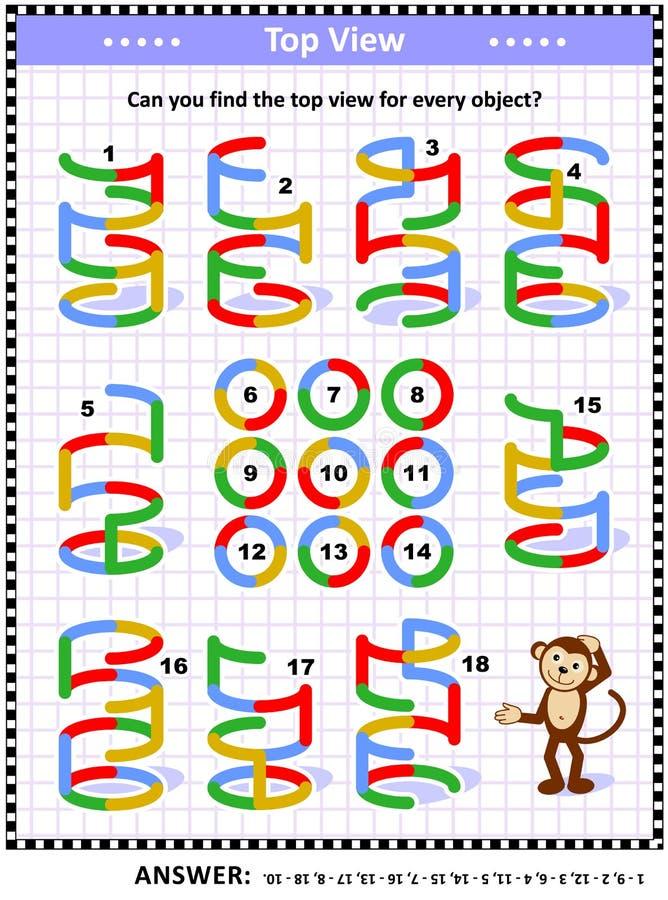 Enigma visual da matemática - encontre a vista superior para objetos coloridos do fio ilustração do vetor