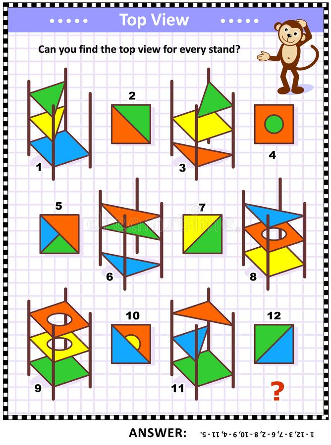 Enigma visual da matemática - encontre a vista superior para suportes abstratos coloridos ilustração do vetor