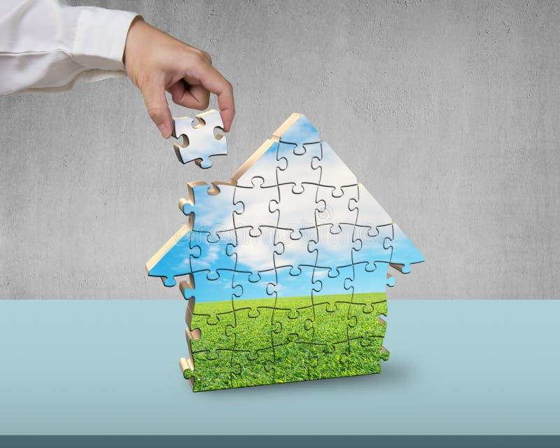 Enigmas de montagem da forma da casa ilustração do vetor