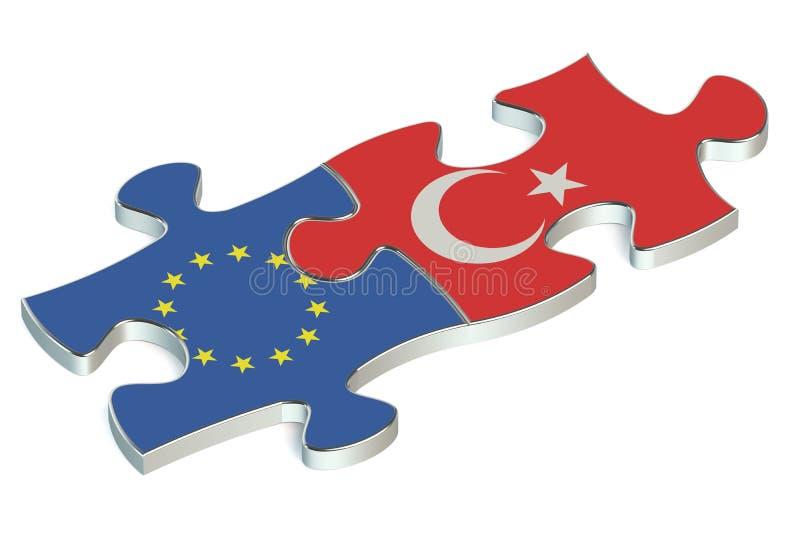 Enigmas de Turquia e de UE das bandeiras ilustração stock