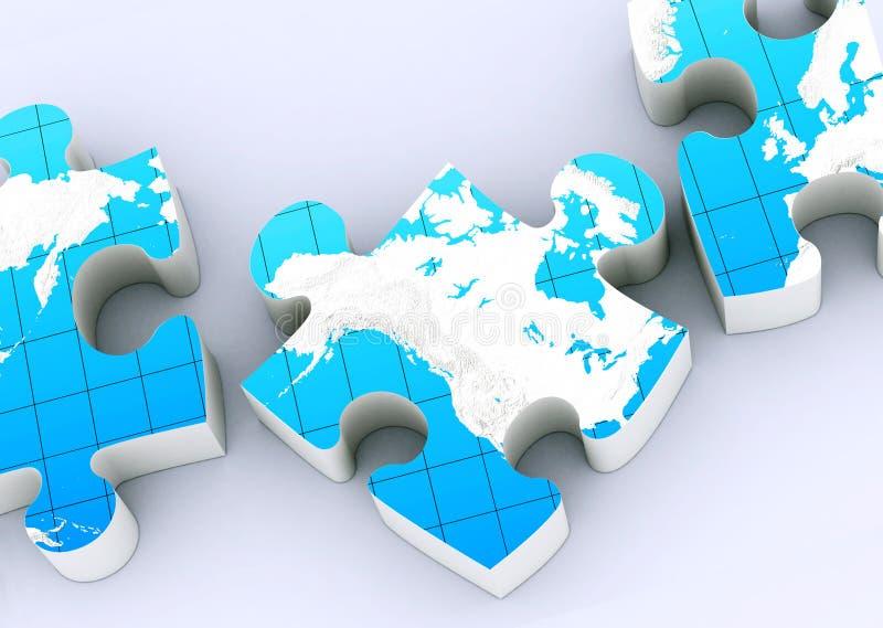 Enigmas globais do mapa ilustração stock