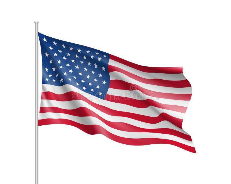 Enigt tillstånd av den Amerika flaggan vektor illustrationer