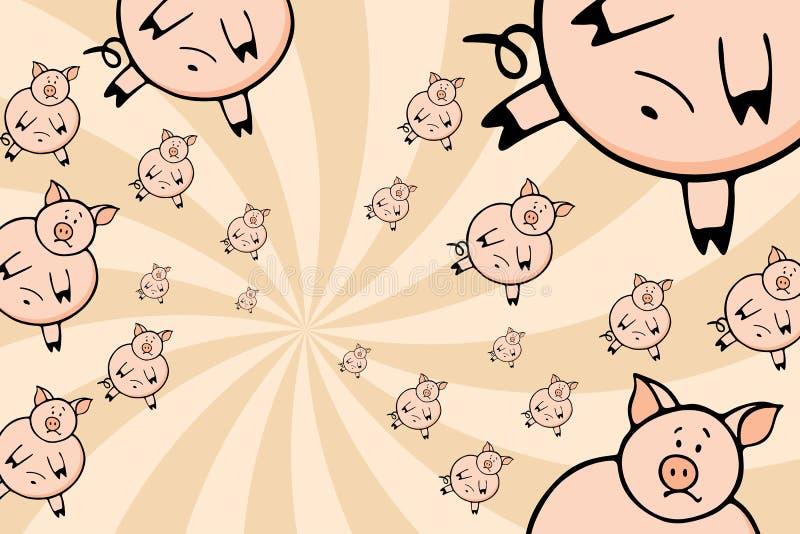 Enjambre de cerdos ilustración del vector