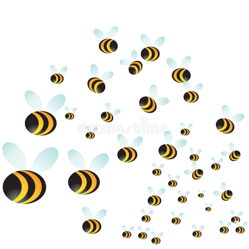 Enjambre de la abeja ilustración del vector