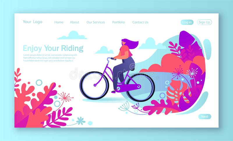Healthy lifestyle concept for mobile website, web page. Bicycle riding girl. vector illustration