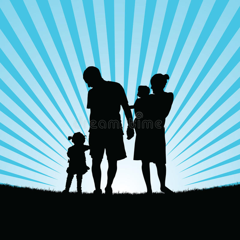 Enjou da família com as crianças no illustrati da cor da silhueta da natureza ilustração do vetor