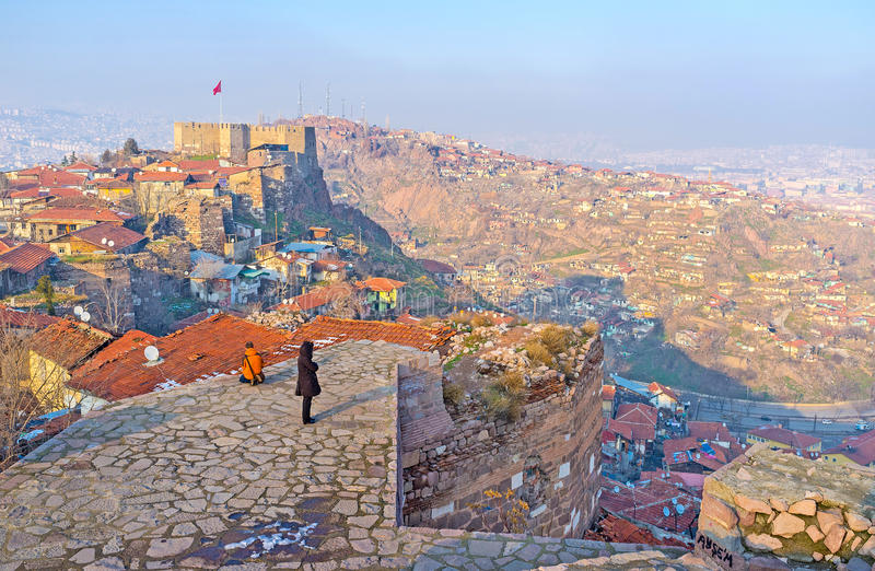Enjoy the Ankara cityscape. The viewpoint on the top of the tower overlooks the Castle Hill and adjacent city hills of Ankara, Turkey royalty free stock photos