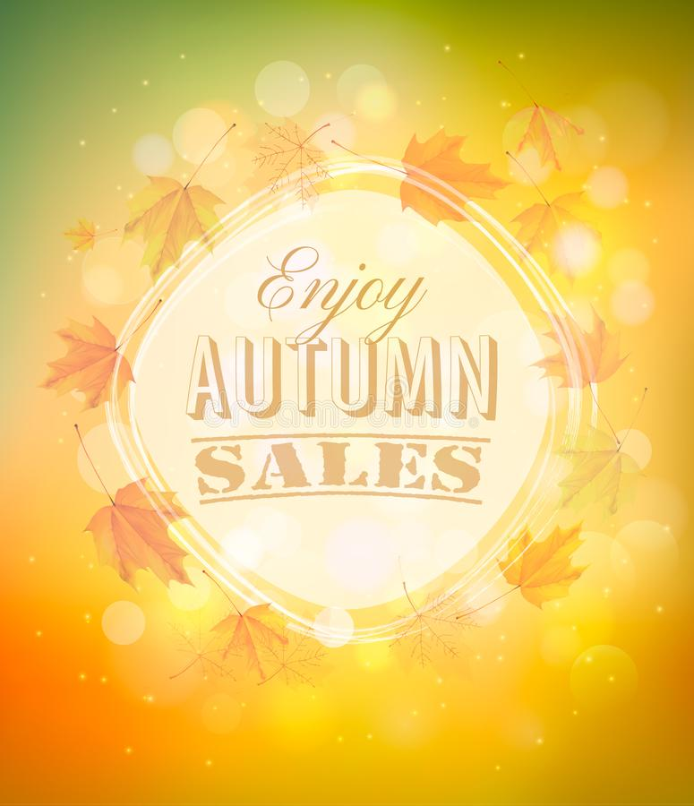 Enjoy Autumn Sales background with autumn leaves. royalty free illustration