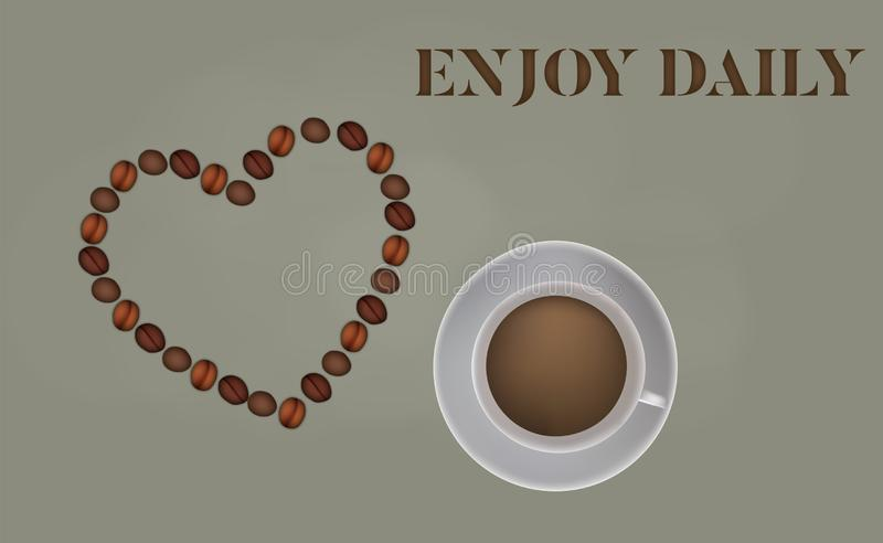 Enjoy daily - background template of coffee illustration . vector illustration