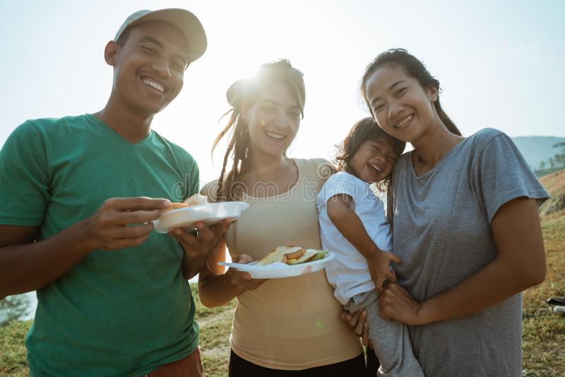 Enjoy breakfast happy family in the morning royalty free stock image