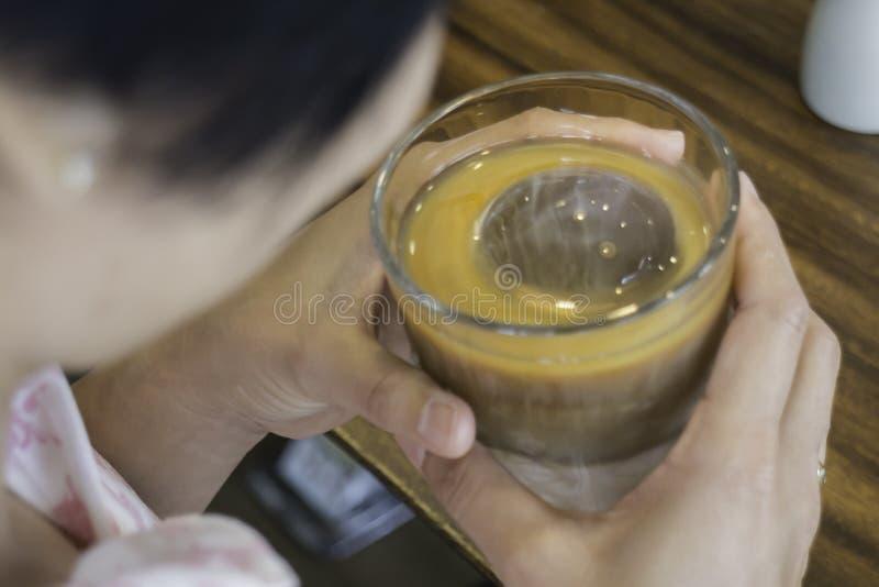 Enjoy coffee latte with iced ball. Stock photo royalty free stock photo