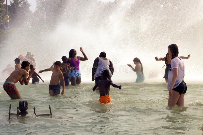 Trocadero fountains cool off Summer Heat wave in Paris. stock image