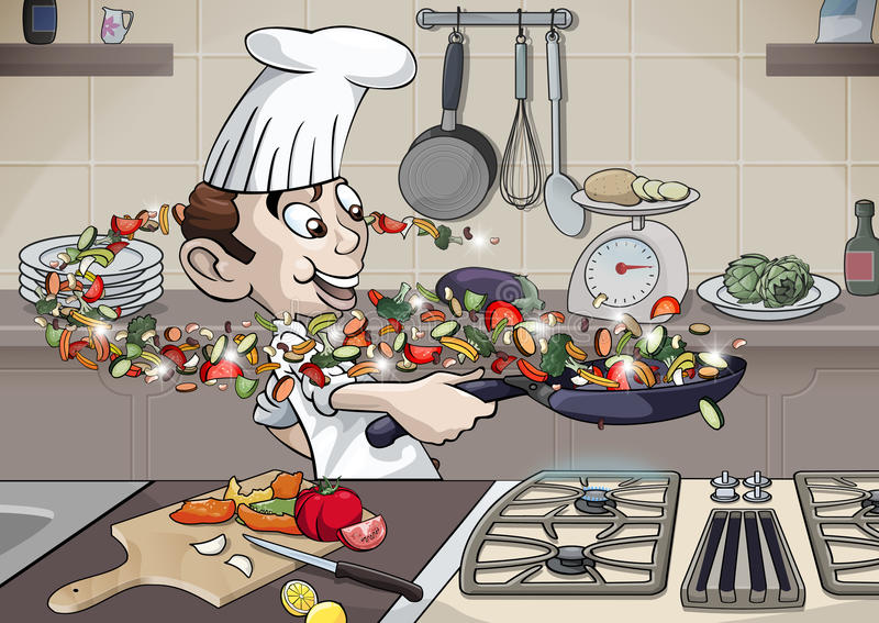 Enjoy cooking. Cartoon style illustration. A funny young cook is rolling a pan full of vegetables in his kitchen