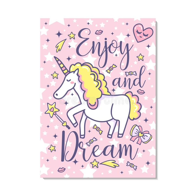 Enjoy and dreams. Vector poster with cute unicorn, hearts, bow, stars, lips, candy. royalty free illustration
