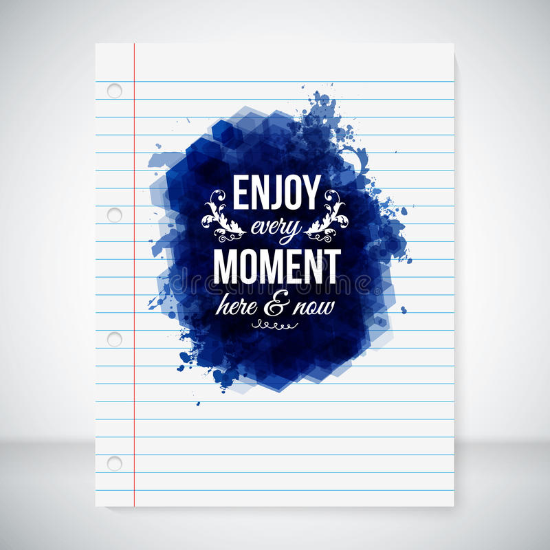 Enjoy every moment here and now. stock illustration