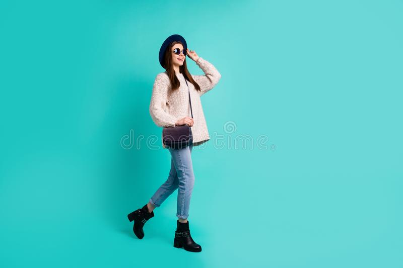 Enjoy holiday relax concept. Full length photo of candid girl have free time vacation stroll with her friends wear white royalty free stock image
