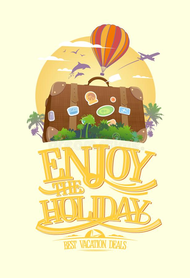 Enjoy the holiday, travel design concept with suitcase on a tropical island stock illustration