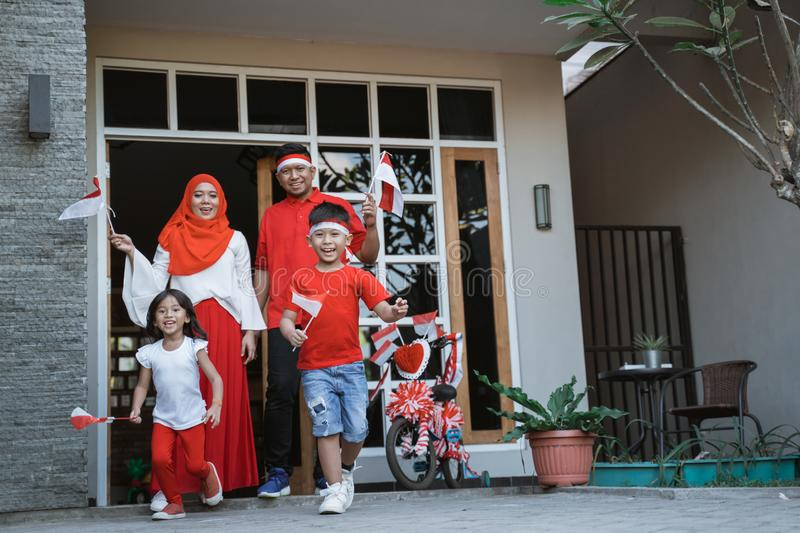 Enjoy indonesia national day with family together royalty free stock images