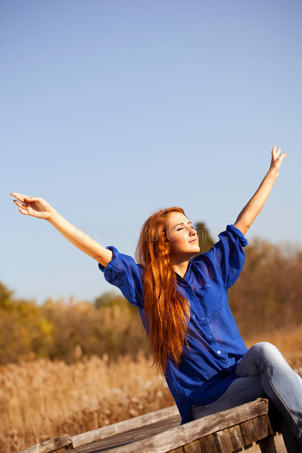 Download Enjoy The Life, Beautiful Woman With Raised Hands Stock Image - Image of nature, harmony: 30541435