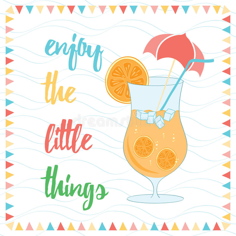 Download Enjoy The Little Things Quote Typographical Background Stock  Illustration   Illustration Of Note, Orange