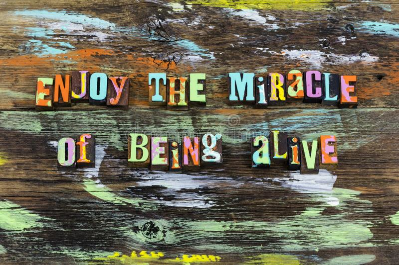 Enjoy miracle alive life love magic help nature. Enjoy miracle alive life live love magic help nature typography art paint healthy health appreciation faith hope royalty free stock photography