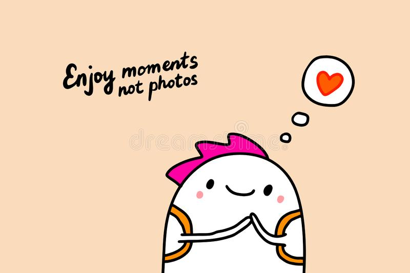 Enjoy moments not photos hand drawn vector illustration with cute man dreaming about love sweet emotions stock illustration