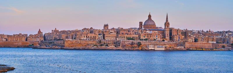 Panoramic skyline of Valletta, Malta royalty free stock photos