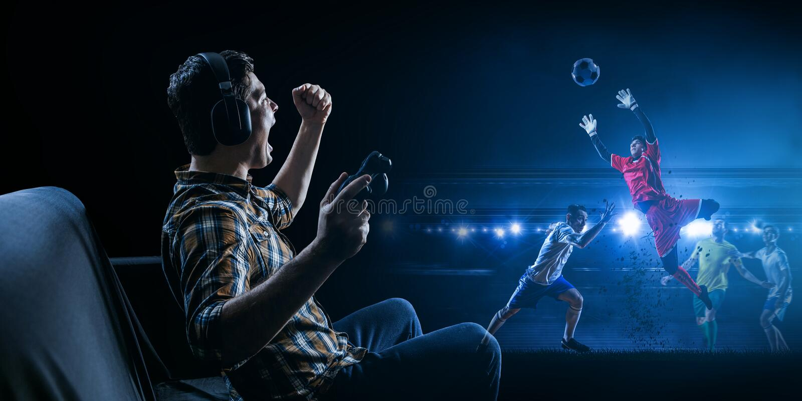 Enjoy the reality of game. Mixed media stock images