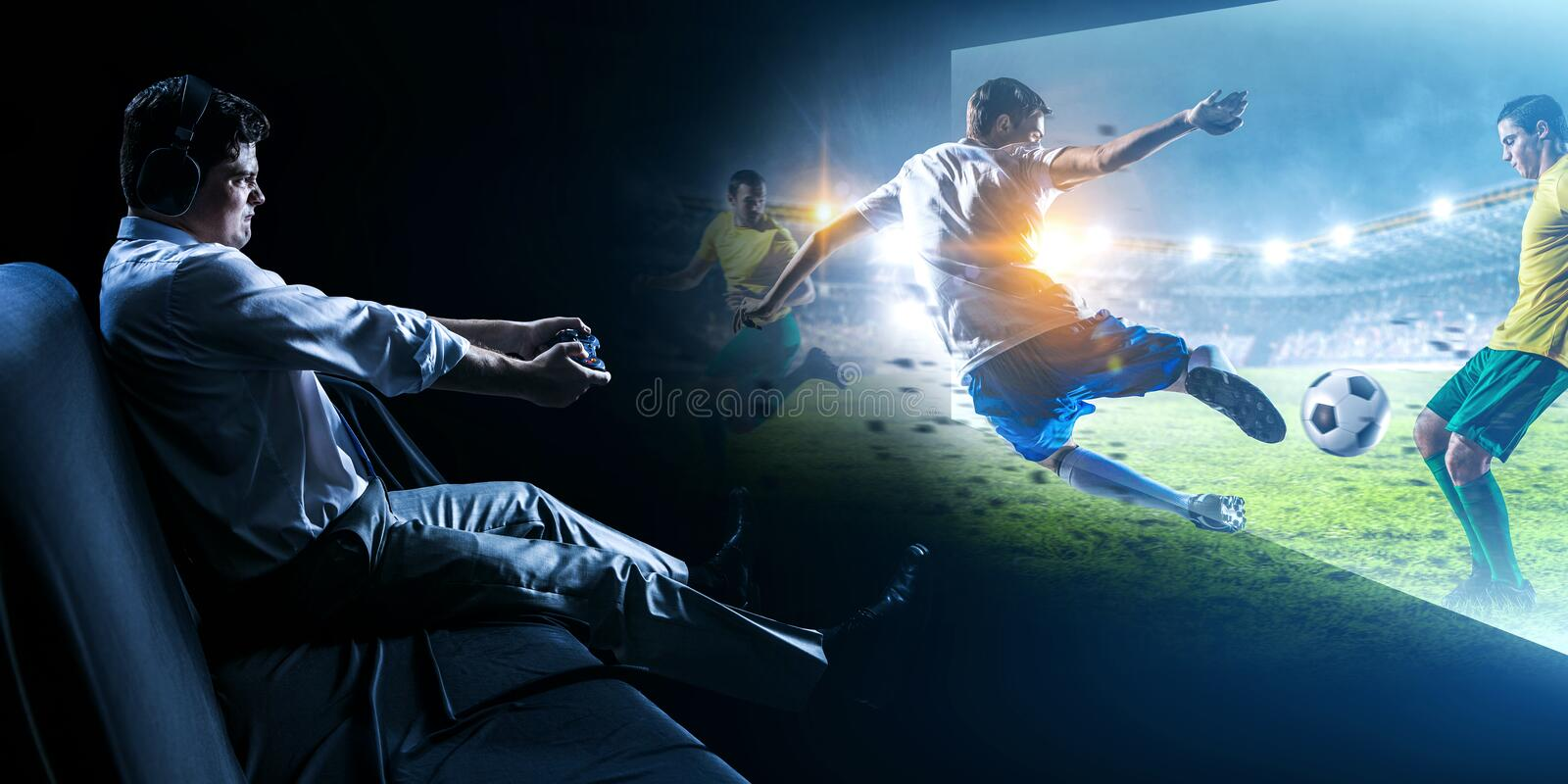 Enjoy the reality of game. Mixed media stock photography