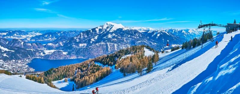 Enjoy the skiing on Zwolferhorn, St Gilgen, Salzkammergut, Austria stock photography