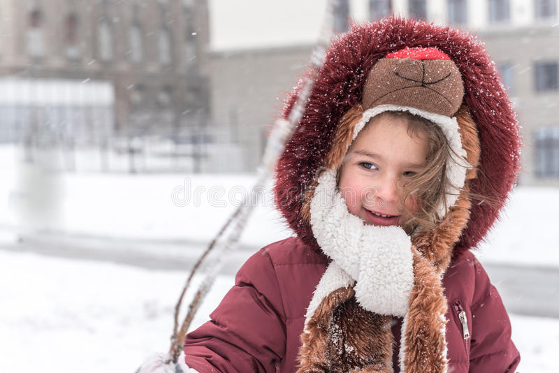 Enjoy in the snow. Little girl enjoy on the snow,selective focus and blurred motion stock photo