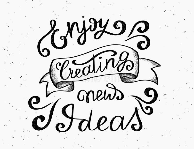 Enjoy som skapar handskriven design för nya idéer stock illustrationer