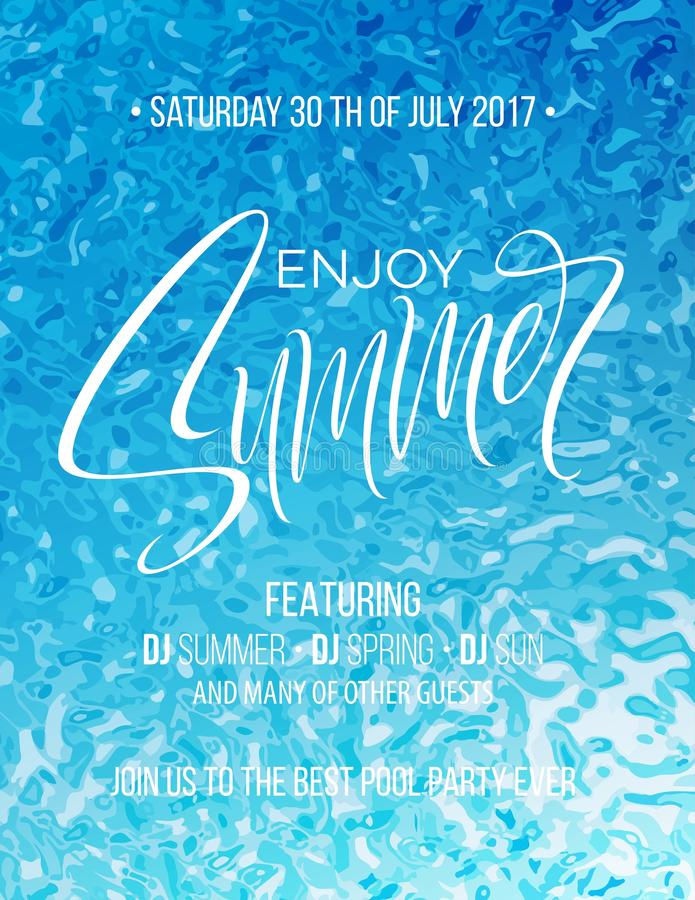 Enjoy Summer hand lettering poster. Hand drawn calligraphy on the pool background. Vector illustration stock illustration