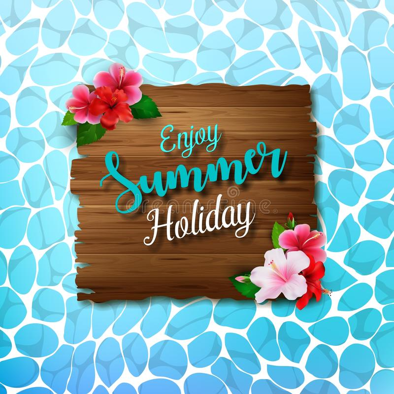 Enjoy summer holidays background with flowers and wooden sign vector illustration