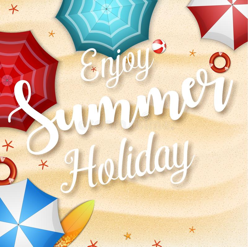 Enjoy summer holidays background. Top view of many umbrellas, surfboard, buoy, starfish, and beach ball royalty free illustration