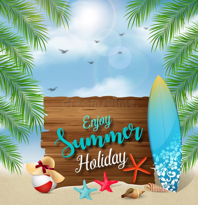 Enjoy summer holidays banner design with a wooden sign for text and beach elements stock illustration