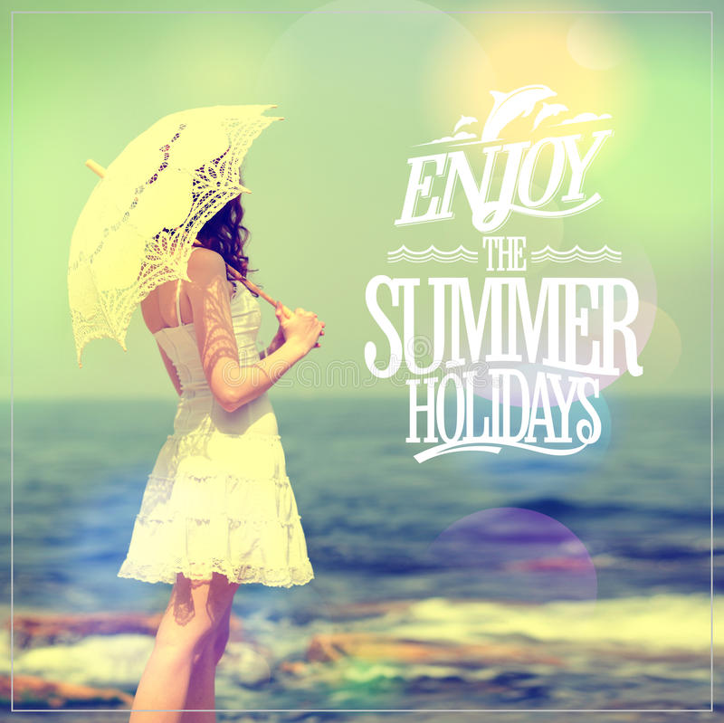 Download Enjoy The Summer Holidays Quote Card With Girl In White Dress With  Lacy Umbrella Stock