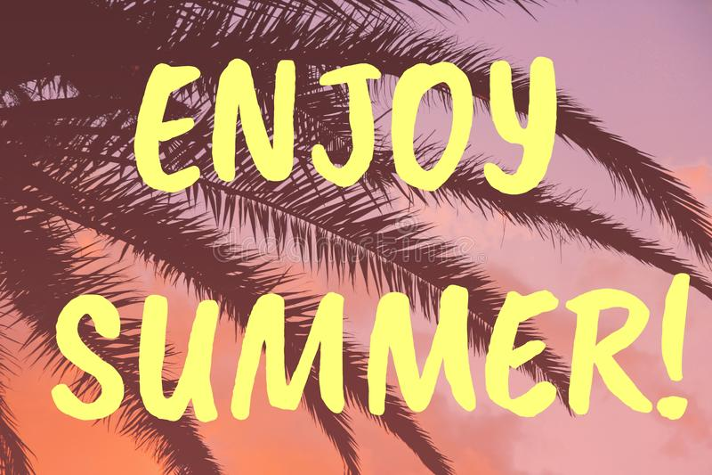 Enjoy Summer lettering. Tropical sunset and palm leaves vivid coral background royalty free illustration