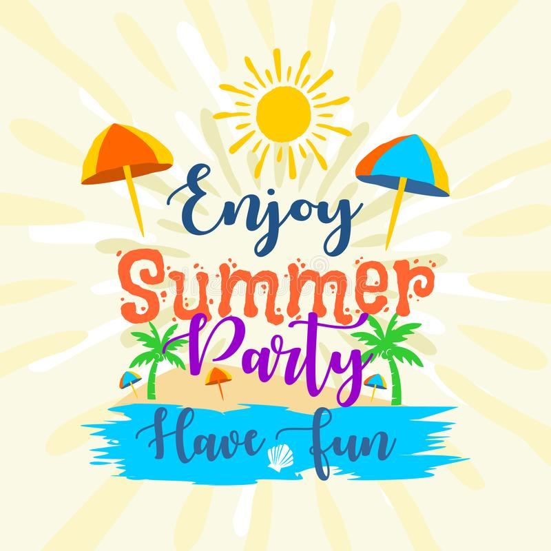 Enjoy summer party have fun labels. Logos, illustration hand drawn tags and elements set for summer holiday, travel, beach vacation. Can use for banner, poster vector illustration