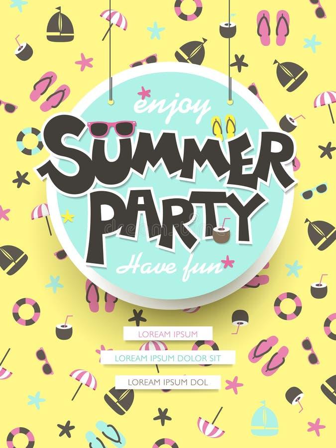 Enjoy summer party poster royalty free illustration