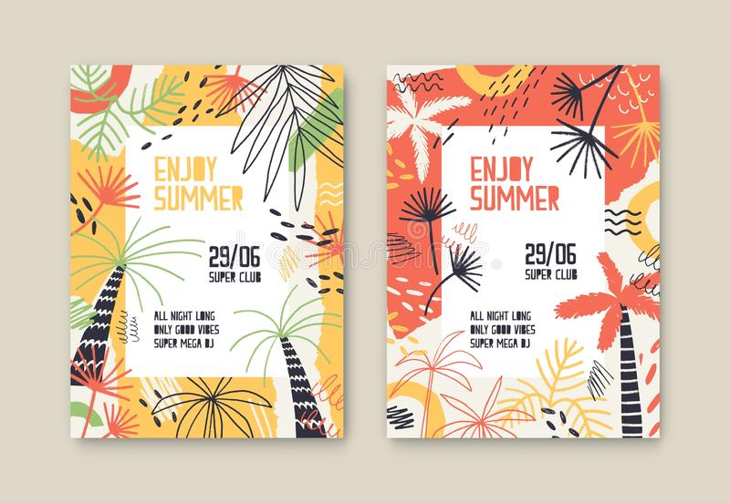Enjoy summer party vector poster templates set. Open air festival invitation decorated with palm trees and tropical stock illustration