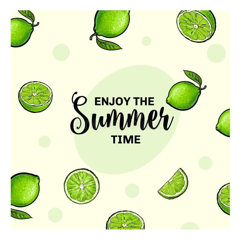 Enjoy the summer time banner, postcard design with lime fruits stock illustration