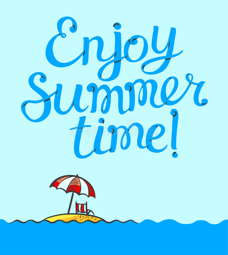 Enjoy Summer Time Lettering Poster. Background With ...