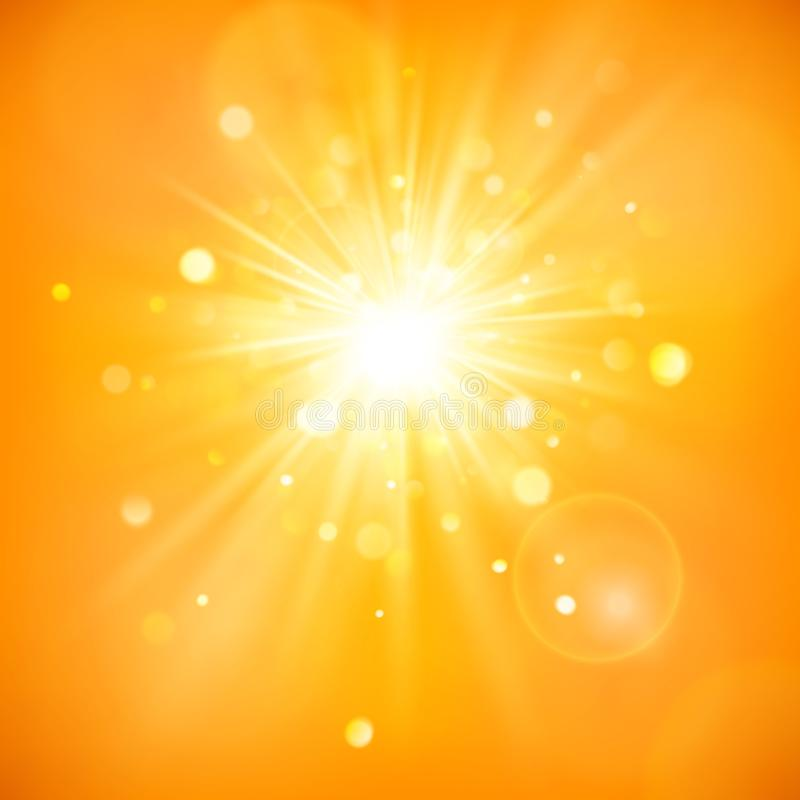 Enjoy the sunshine. Warm day light. Summer background with a hot sun burst with lens flare. EPS 10 royalty free illustration