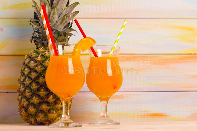 Tropical cocktails with fresh fruit royalty free stock images