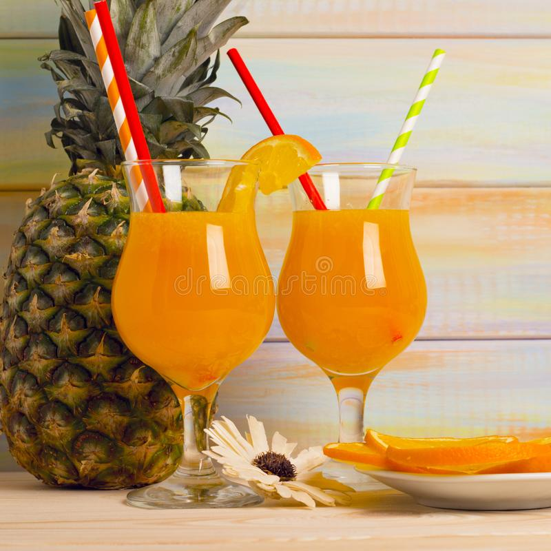 Tropical cocktails with fresh fruit stock photos