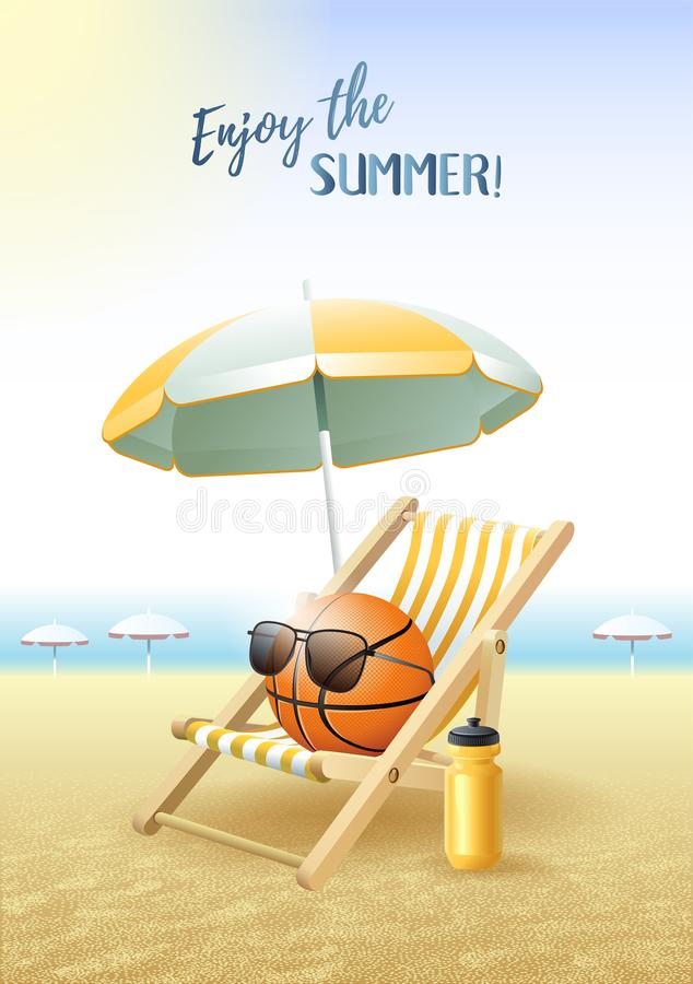 Free Enjoy The Summer! Sports Card. Basketball Ball With Sunglasses, Beach Umbrella, Deck Chair And Water Bottle On The Sand Beach. Royalty Free Stock Photography - 116658607
