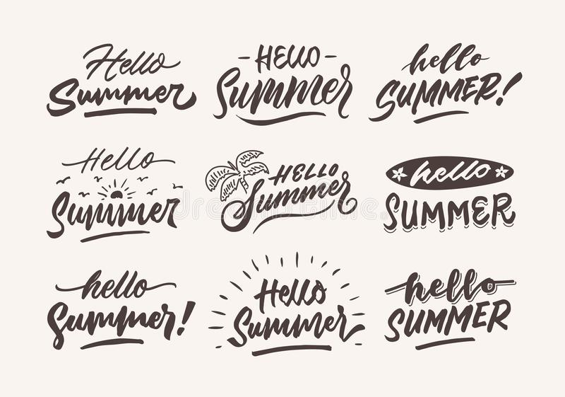 Hello summer vintage roughen hand lettering typography and illustration bundle. Hello summer vintage roughen hand lettering typography and illustration template vector illustration