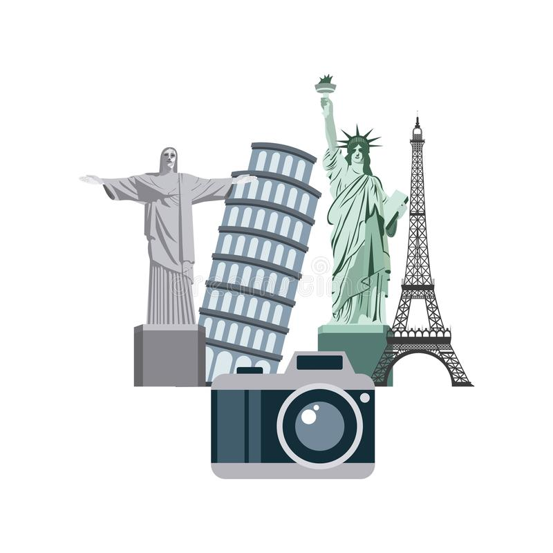 Enjoy vacations with travel icon stock illustration