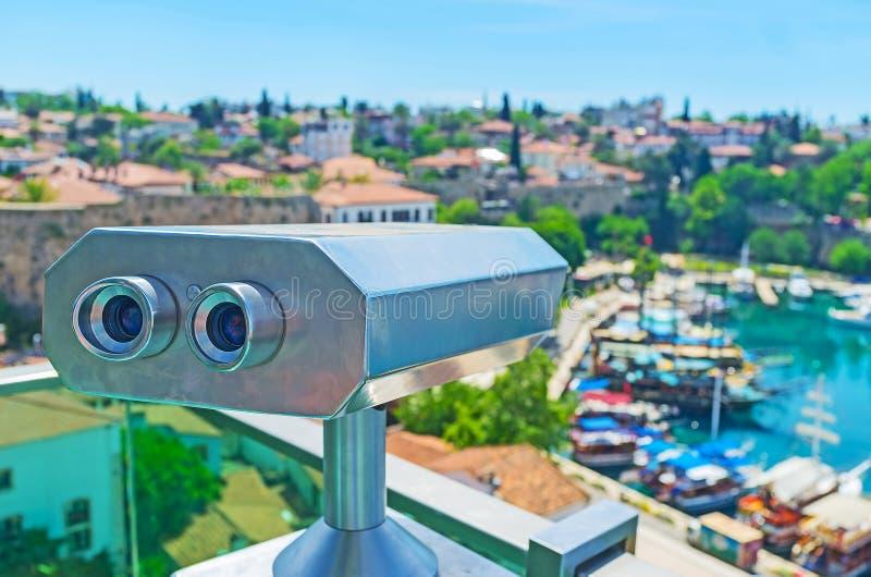 The coin-operated binocular in Antalya stock photo